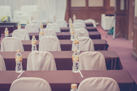 empty business seminar hall of hotel room for asia people listen presentation,selective focus,vintage filter.