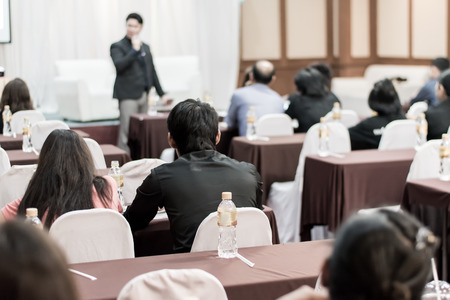 Business concept : asia people listen in business seminar presentation hall of hotel room,selective focus.