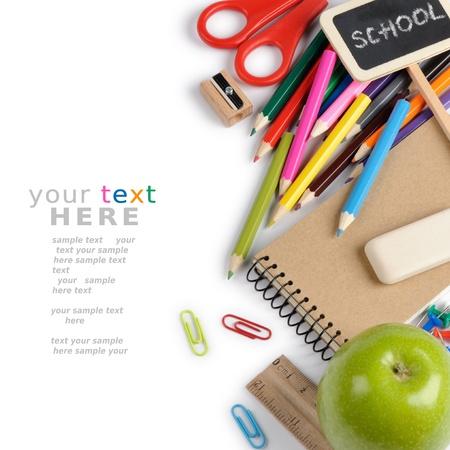 Foto de School stationery isolated over white with copyspace - Imagen libre de derechos
