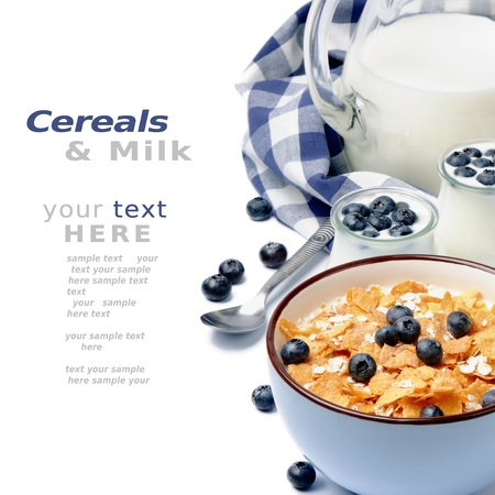 Healthy breakfast with cereal and blueberry