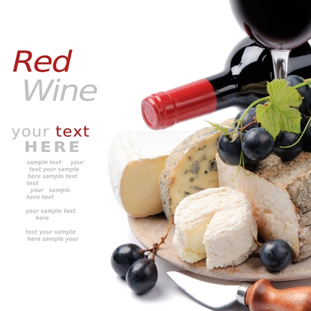 Red wine with French cheese selection with copyspace over white