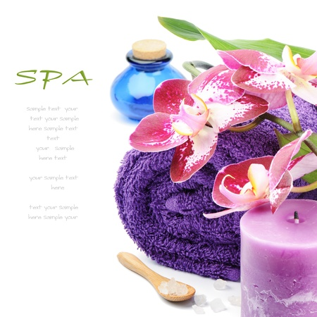 Spa setting in purple tone over white