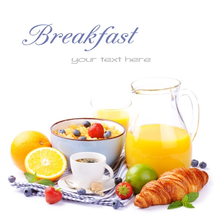 Fresh healthy breakfast with copyspace isolated over white