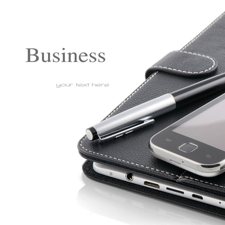 Business concept. Mobile phone, tablet pc and pen isolated over white