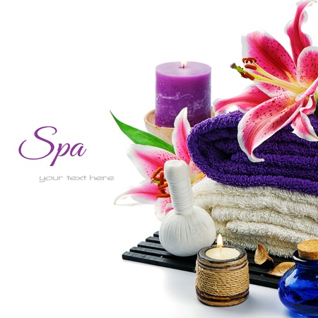Photo pour Spa setting in purple tone isolated over white - image libre de droit
