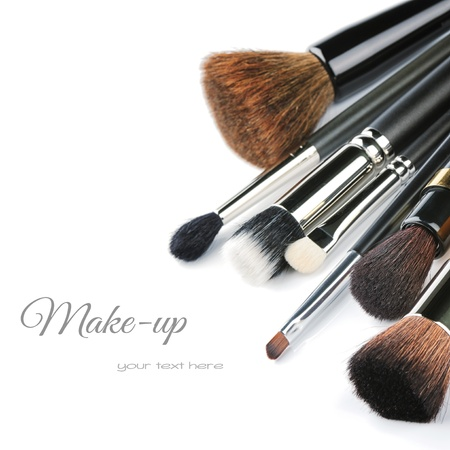 Various makeup brushes isolated over whiteの写真素材