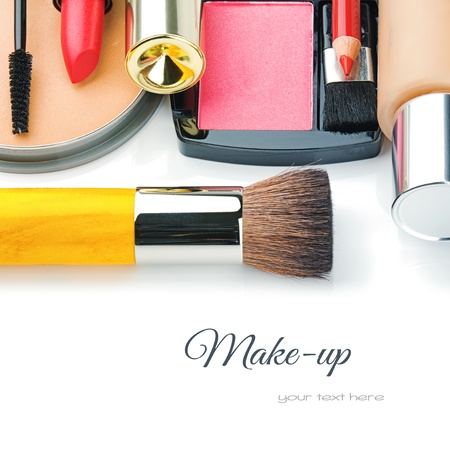 Colorful make-up products isolated over whiteの写真素材