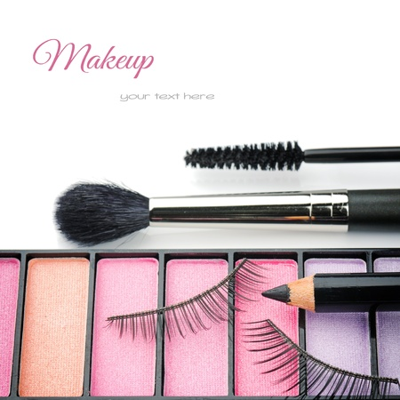 Cosmetics for eye makeup isolated over whiteの写真素材