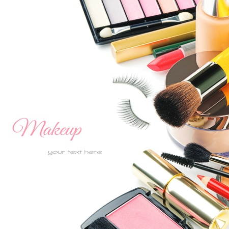 Colorful makeup products isolated over whiteの写真素材