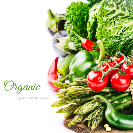 Fresh organic vegetables isolated over white backgroundの写真素材