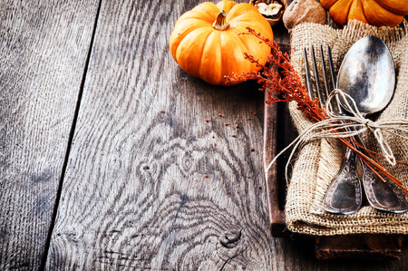 Photo for Seasonal table setting with small pumpkins and autumn decoration - Royalty Free Image