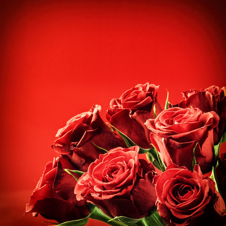 Bouquet of red roses. St Valentine's concept