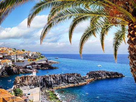 View of Camara de Lobos, small fisherman village on Madeira island