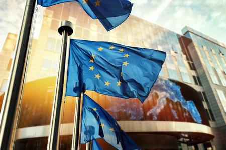 Foto de EU flags waving in front of European Parliament building. Brussels, Belgium - Imagen libre de derechos
