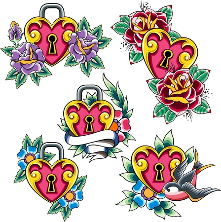 heart tattoo set