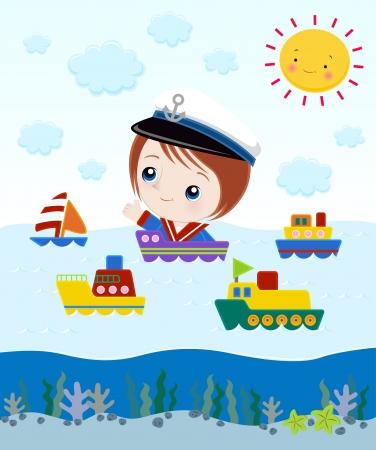 Illustration pour Little Captain In Ship - image libre de droit