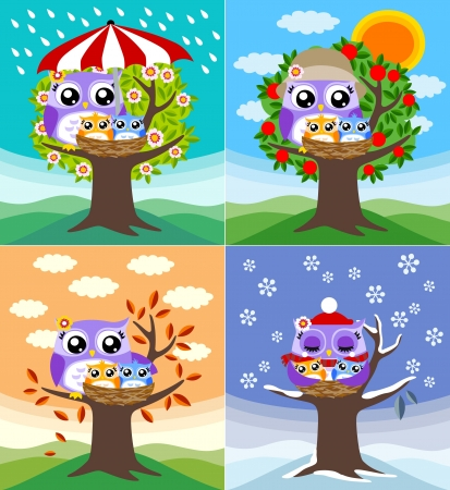 Illustration pour owls in four seasons - image libre de droit