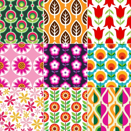 Illustration for seamless retro flower pattern  - Royalty Free Image