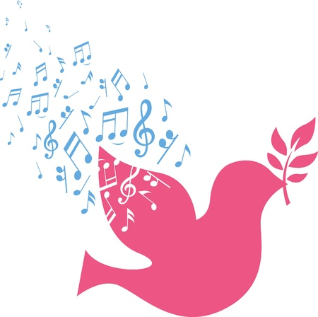 musical note sign with flying pink dove