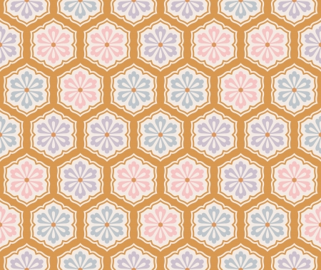 seamless japanese floral geometric patternのイラスト素材