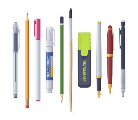 Illustration pour Pen pencil marker corrector brush sharp. Vector flat isolated stationery set. Collection - image libre de droit