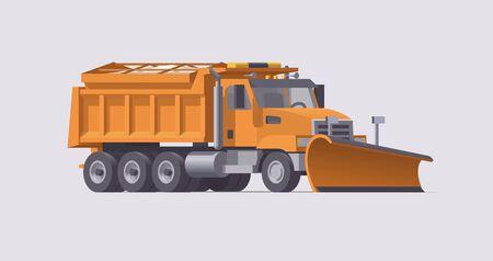 Illustration pour Snow plowing truck. Snow removal. Salt spreader. Vector illustration. Trasportation - image libre de droit