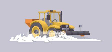 Illustration pour Snow plowing tractor. Snow removal. Salt spreader. Vector illustration. Transportation - image libre de droit
