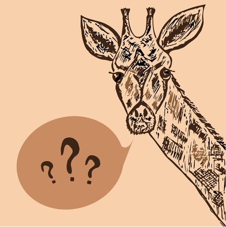Hand drawn illustration of pensive giraffe, vector, doodle