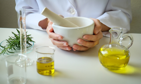 Foto de alternative herb medicine with herbal the organic natural in the laboratory. oil capsule, natural organic. - Imagen libre de derechos