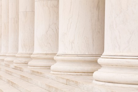 Marble stone columns in a row and steps, ideal for classic background