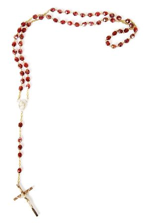 Rosary bead border isolated on white with space for text