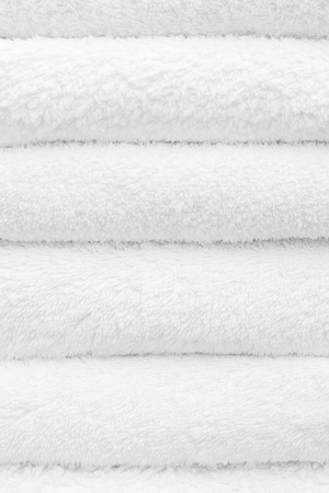 Closeup of a stack of clean white towels