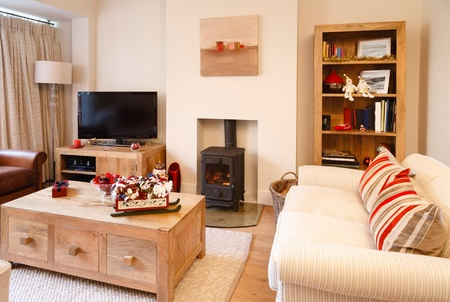 Contemporary interior design living room with christmas ornaments  Photographers own artwork on wall and bookcase