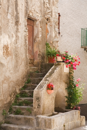 Stone steps to a medieval house in Entrevaux, France
