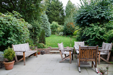 Backyard, patio and garden furniture in an English home