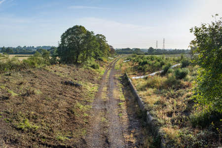 Photo pour Vegetation clearance at Verney Junction along the route of the new East West Rail railway line between Oxford and Bedford. - image libre de droit