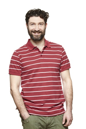 Casually dressed man smiling on white background