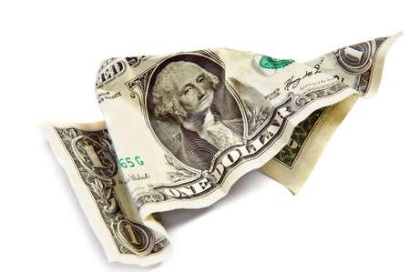 One wrinkled dollar isolated on white