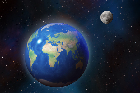 Photo pour High detailed Earth and Moon over star field  in outer space, cosmic background - image libre de droit