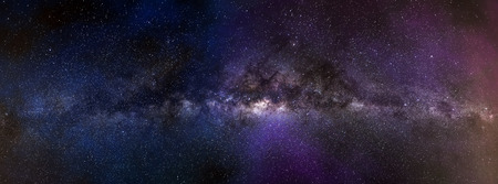 Foto de Milky way galaxy panorama. Universe space landscape of stars field on a night sky - Imagen libre de derechos