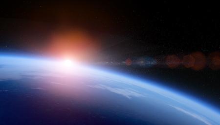 Foto de Sunrise over space Earth view from orbit with stars field. - Imagen libre de derechos