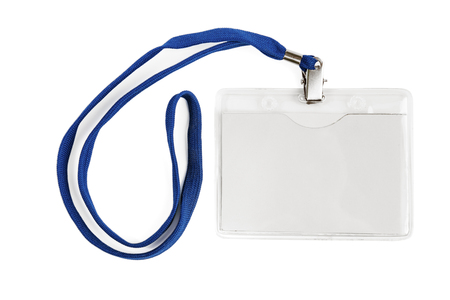 Photo pour Badge identification white blank plastic id card isolated with clipping path - image libre de droit