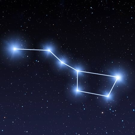Photo for Big dipper constellation in night sky with bright blue stars - Royalty Free Image
