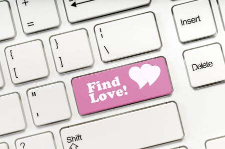 Photo for Find Love pink key button on white keyboard concept image - Royalty Free Image