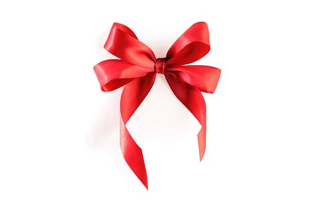 Photo pour Red ribbon bow isolated on white background - image libre de droit