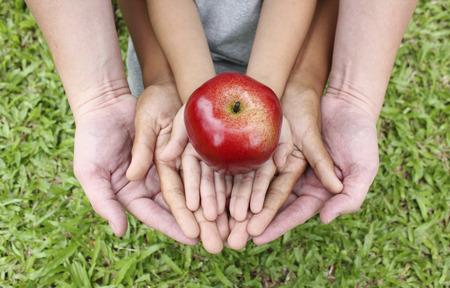 Foto de Adult hands holding kid hands with red apple on top - Imagen libre de derechos