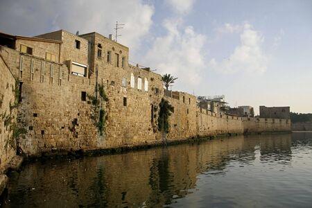 fortified walls by seaside akko israel