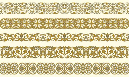 Set of five decorative borders