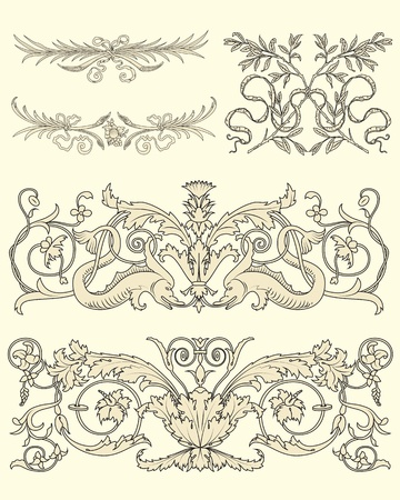 Illustration for Set of five clasical ornamental design vector - Royalty Free Image