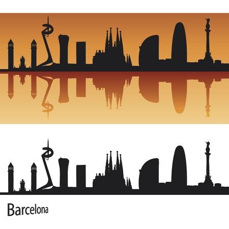 Barcelona Skyline in orange background in editable vector file
